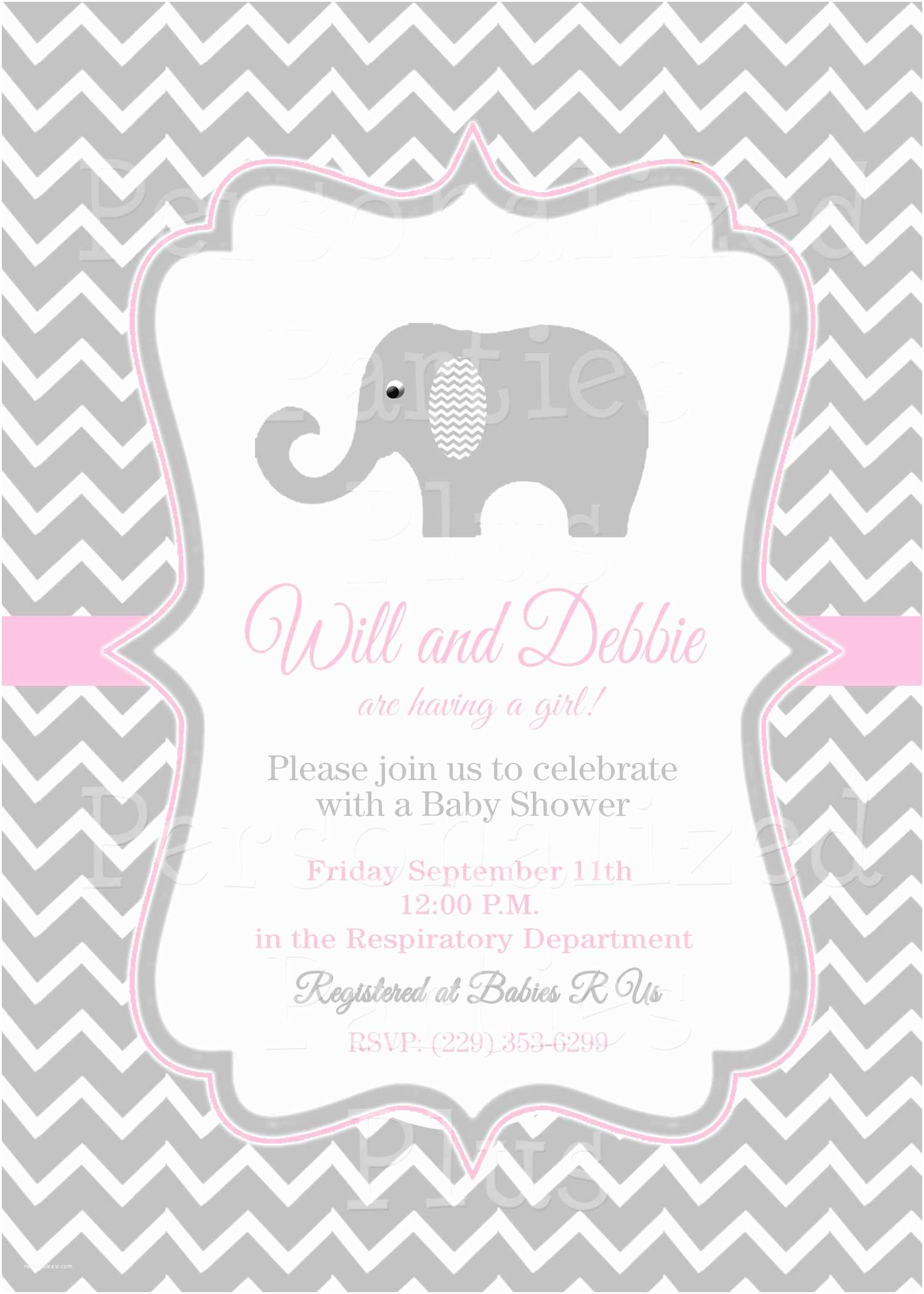 Pink Baby Shower Invitations Pink Elephant Baby Shower Invitations