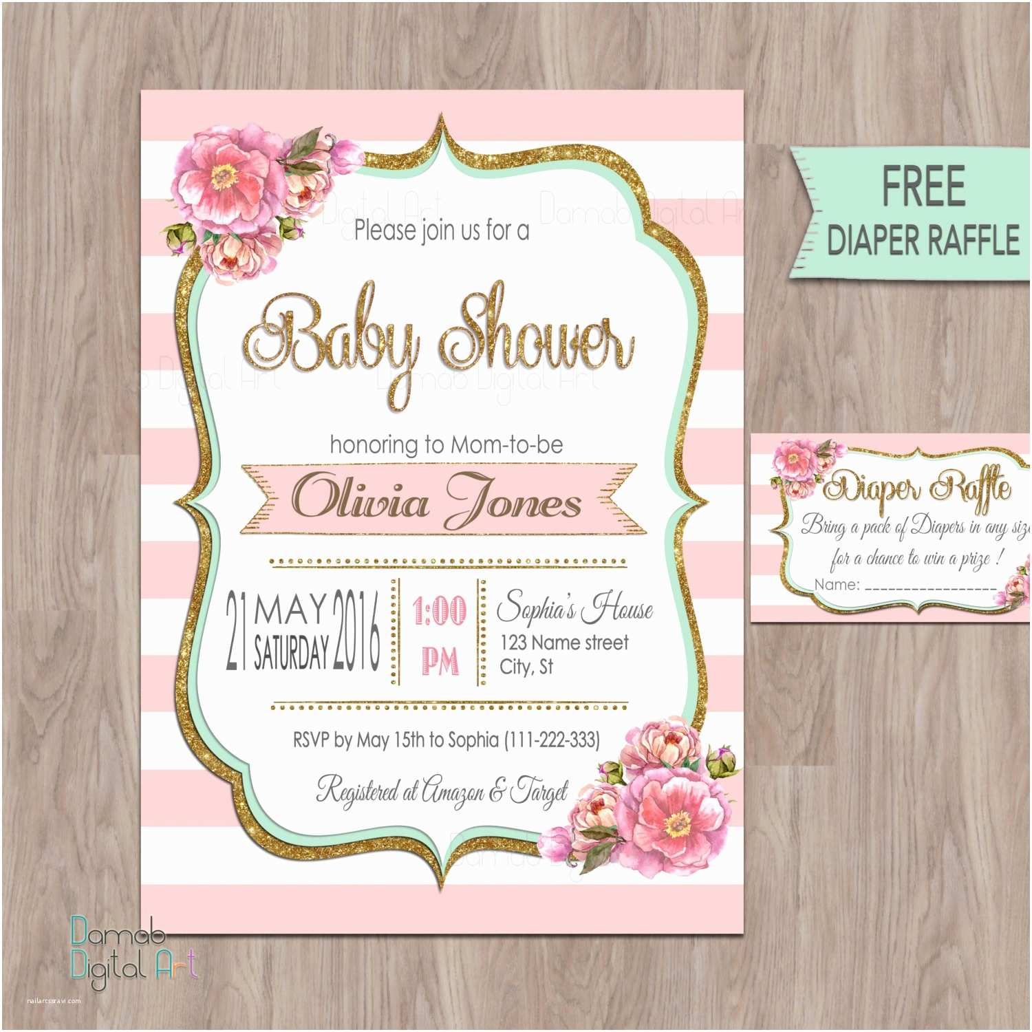 Pink Baby Shower Invitations Pink Gold Mint Baby Shower Invitation Pink Mint Baby Shower