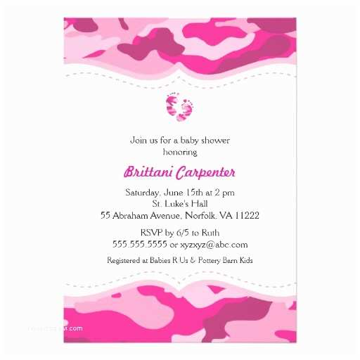 Pink Camo Baby Shower Invitations Hot Pink Camo Baby Shower Invitation with Feet