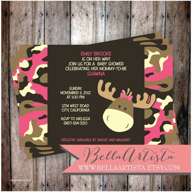 Pink Camo Baby Shower Invitations Pink & Girly Camouflage Moose Baby Shower Invitation