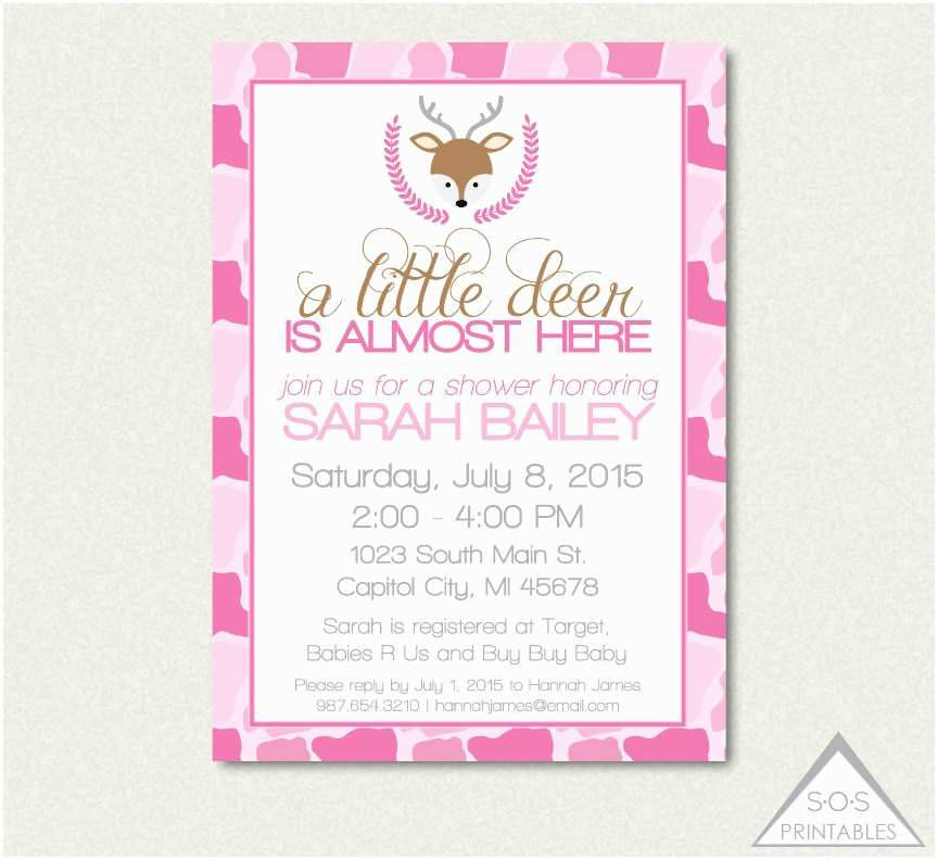Pink Camo Baby Shower Invitations Pink Camo Deer Baby Shower Invitation A Little by