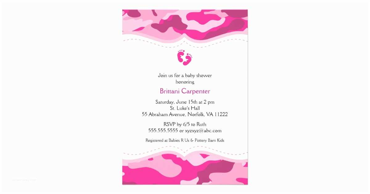 Pink Camo Baby Shower Invitations Pink Camouflage Girl Baby Shower Invitation
