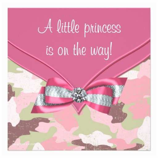 """Pink Camo Baby Shower Invitations Pink Camouflage Princess Baby Shower 5 25"""" Square"""