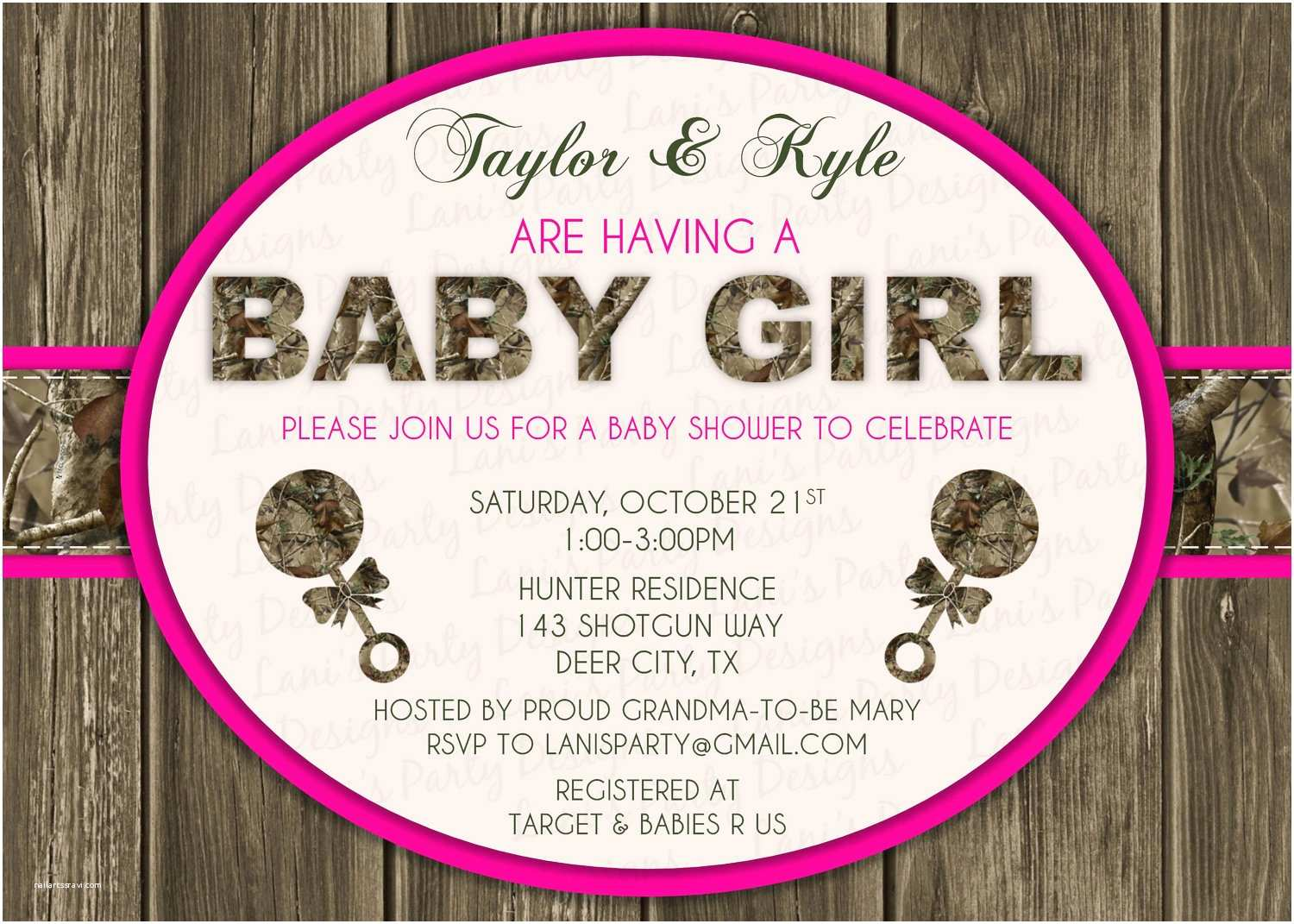 Pink Camo Baby Shower Invitations Pink Wood & Hunting Camo Baby Shower Invitation Digital