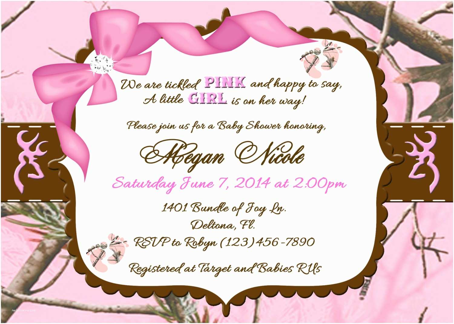 Pink Camo Baby Shower Invitations Tickled Pink Camo Baby Shower Invitation Printable