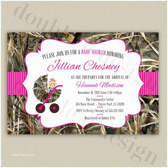 pink camouflage baby shower invitation