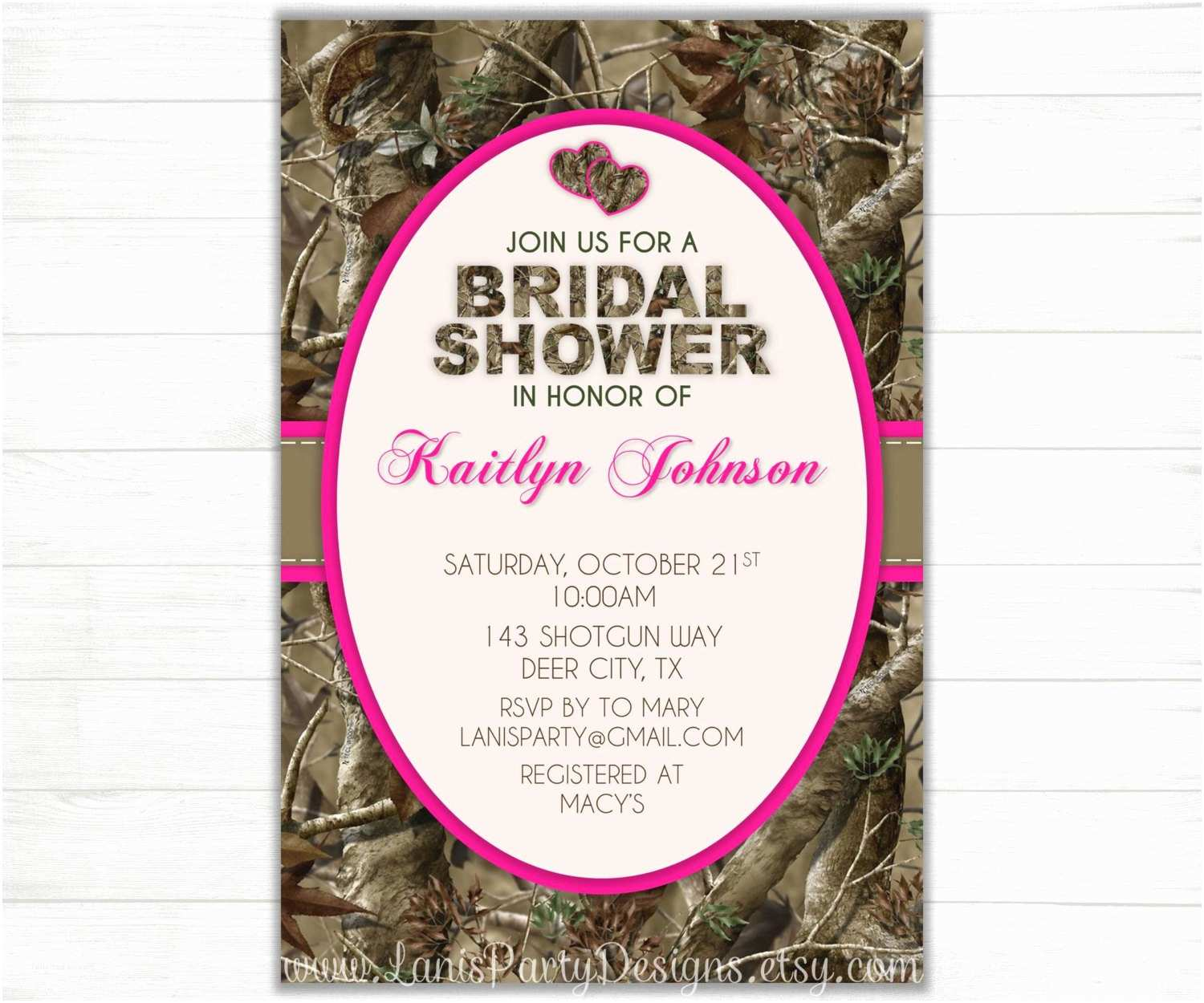 Pink Camouflage Wedding Invitations Camo Bridal Shower Invitation Hearts Hunting Camouflage Deer