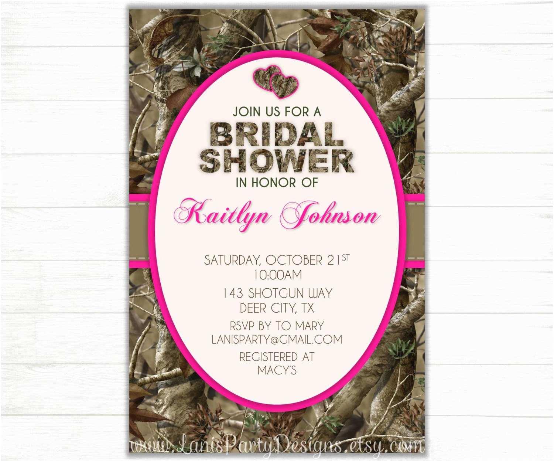 Pink Camouflage Wedding Invitations Camo Bridal Shower Invitation Hearts Hunting Camouflage