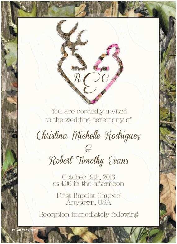 Pink Camouflage Wedding Invitations Camo Deer Hearts Wedding Invitation And Rsvp Card