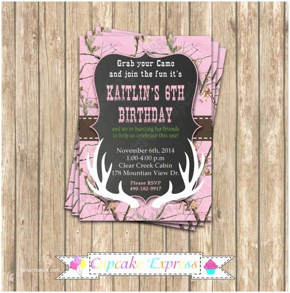 Pink Camouflage Wedding Invitations Camo Girl Hunting 6 Birthday Party Printable Invitation 5x7