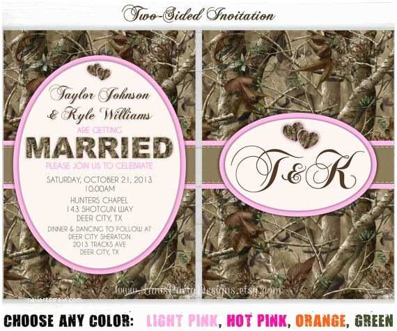 Pink Camouflage Wedding Invitations Camo Wedding Invitation Invites Hunting Camouflage