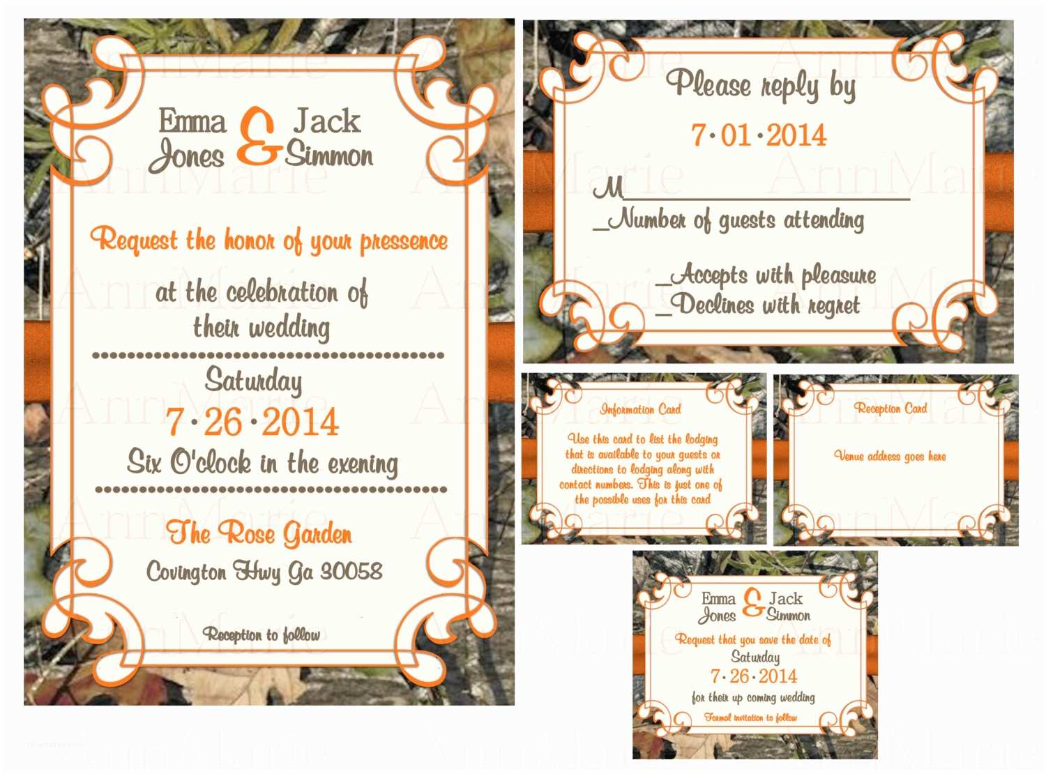 Pink Camouflage Wedding Invitations Mossy Oak Wedding Invitations Template