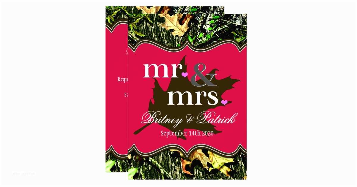 Pink Camouflage Wedding Invitations Mr & Mrs Hunting Camo Hot Pink Wedding Invitations