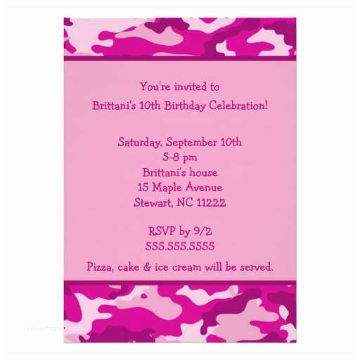 Pink Camouflage Wedding Invitations Personalized Camo Birthday Party Invitations