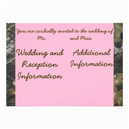 Pink Camouflage Wedding Invitations Pink and Camo Invitation