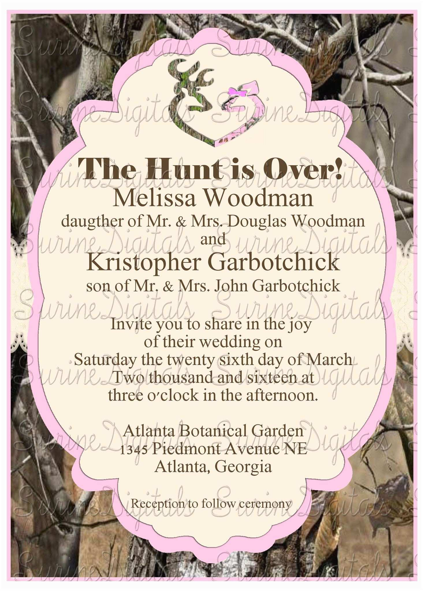 Pink Camouflage Wedding Invitations Pink and Camo Wedding Invitation with Buck Doe Heart Hunti