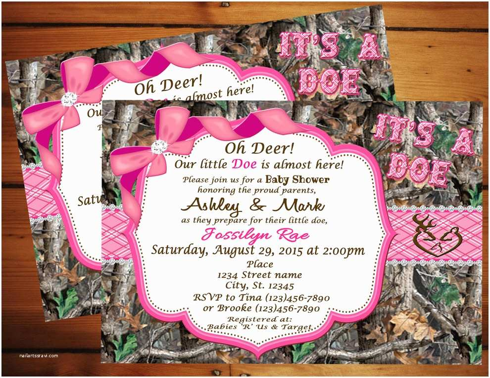 Pink Camouflage Wedding Invitations Pink Camo Baby Shower Invitations