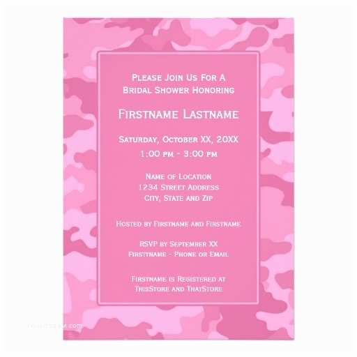 Pink Camouflage Wedding Invitations Pink Camo Bridal Shower or Engagement Party Personalized