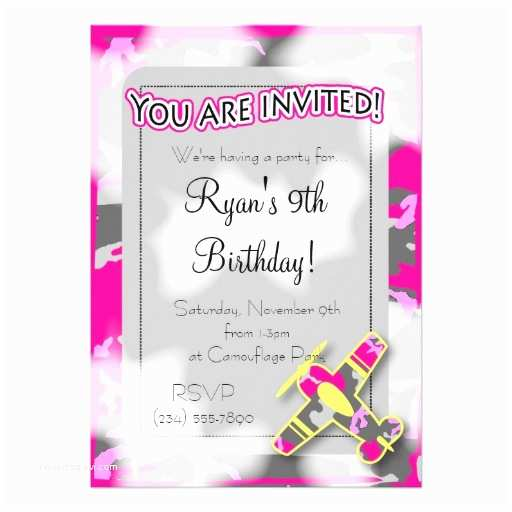 "Pink Camouflage Wedding Invitations Pink Camouflage Airplane Birthday Invitation 5"" X 7"