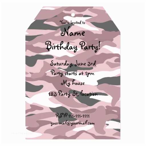 Pink Camouflage Wedding Invitations Pretty Pink Camouflage 5x7 Paper Invitation Card