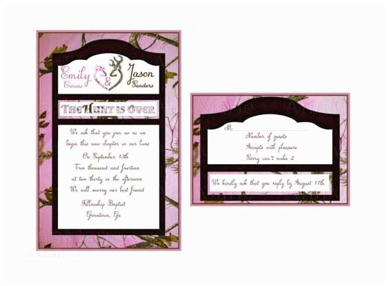 Pink Camouflage Wedding Invitations Realtree Pink Camo Wedding Invitation Camo by