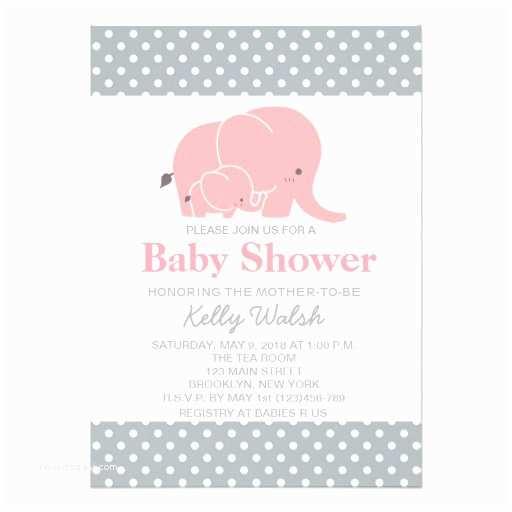 Pink Elephant Baby Shower Invitations Elephant Baby Shower Invitations Pink and Gray