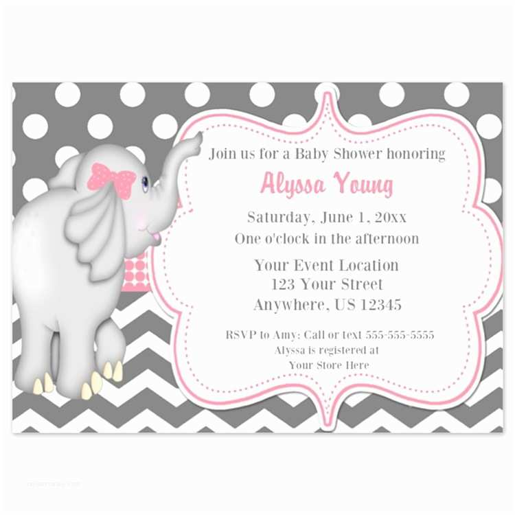 Pink Elephant Baby Shower Invitations Invitations for Baby Shower