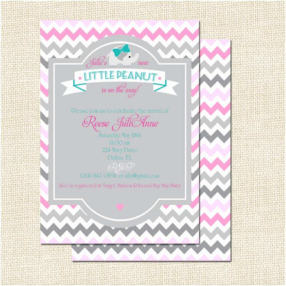 Pink Elephant Baby Shower Invitations Pink and Gray Elephant Baby Shower Invitation Various