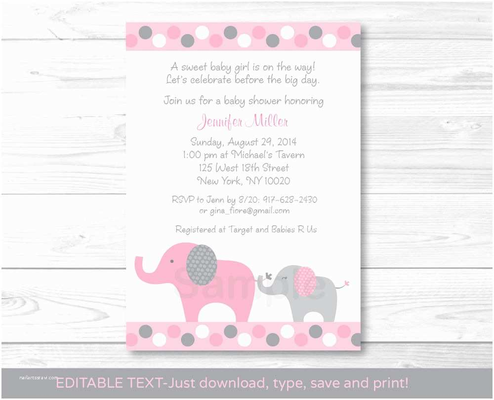 Pink Elephant Baby Shower Invitations Pink and Gray Polka Dot Elephant Printable Baby Shower