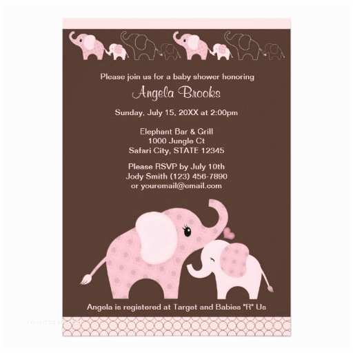 Pink Elephant Baby Shower Invitations Pink Elephant Baby Shower Invitation Ce P Kiss 13 Cm X 18