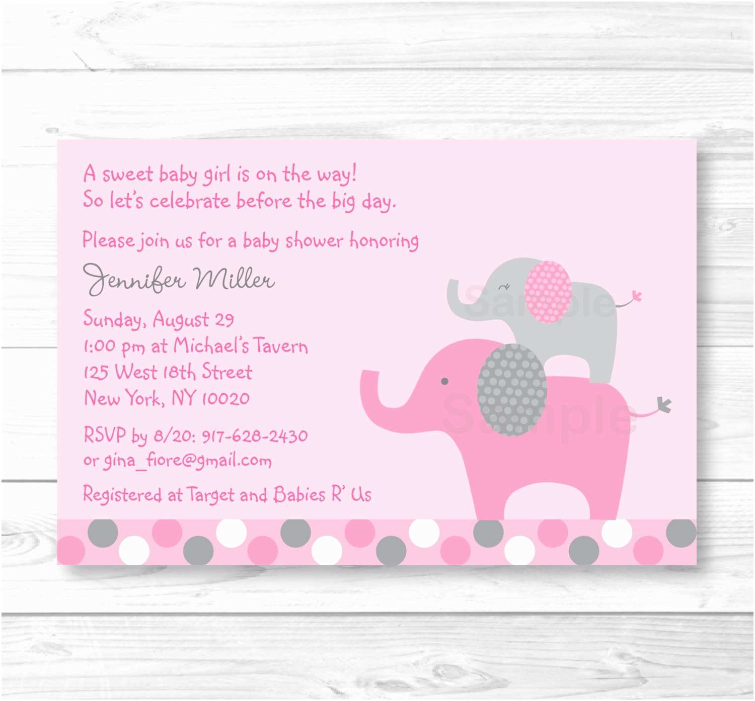 Pink Elephant Baby Shower Invitations Pink Elephant Baby Shower Invitation Elephant Baby Shower