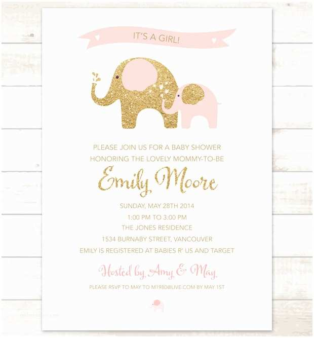 Pink Elephant Baby Shower Invitations Pink Gold Elephant Baby Girl Shower Invitation Pink Gold
