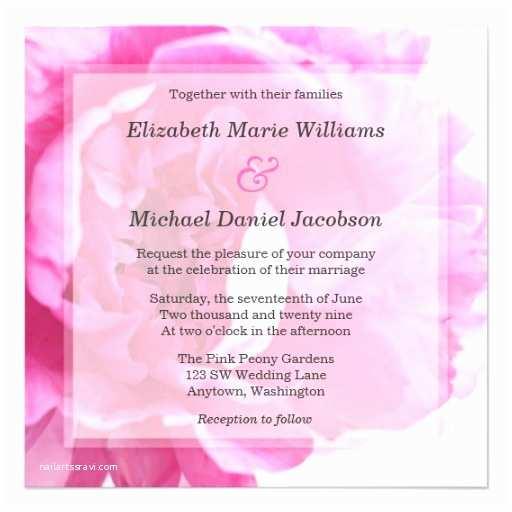 Pink Peony Wedding Invitations Beautiful Pink Peony Wedding Invitations