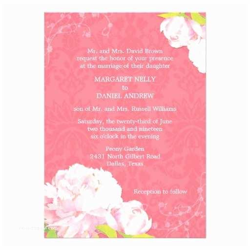 "Pink Peony Wedding Invitations Coral Pink Peony Spring Floral Wedding Invitations 5"" X"