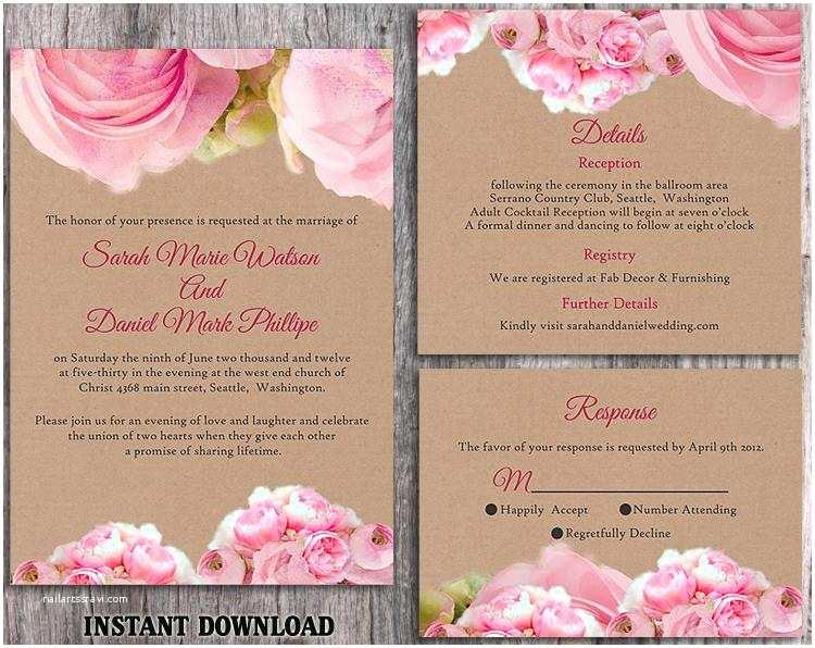 Pink Peony Wedding Invitations Diy Rustic Wedding Invitation Template Set Editable