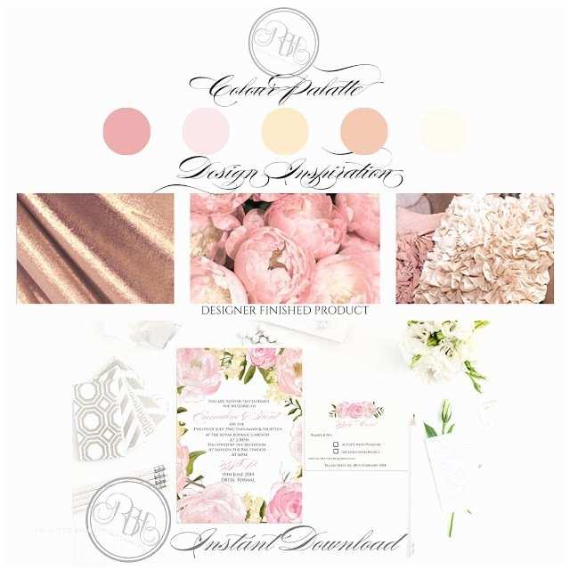 Pink Peony Wedding Invitations Dusty Pink Peonies Wedding Invite Rsvp Save the Date