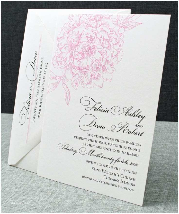 Pink Peony Wedding Invitations Felicia Wedding Invitation Pink Peony Pattern Sample