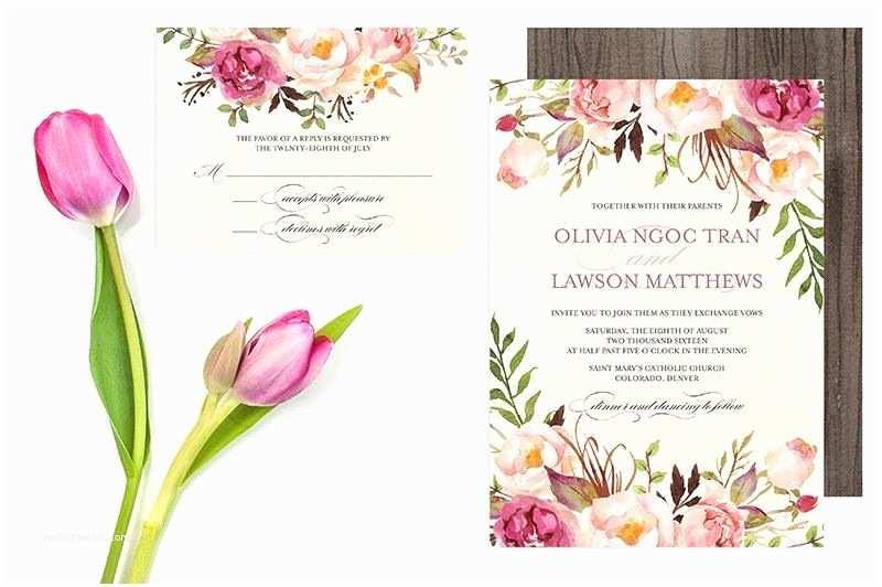 Pink Peony Wedding Invitations Floral Wedding Invitation Set Do It Yourself
