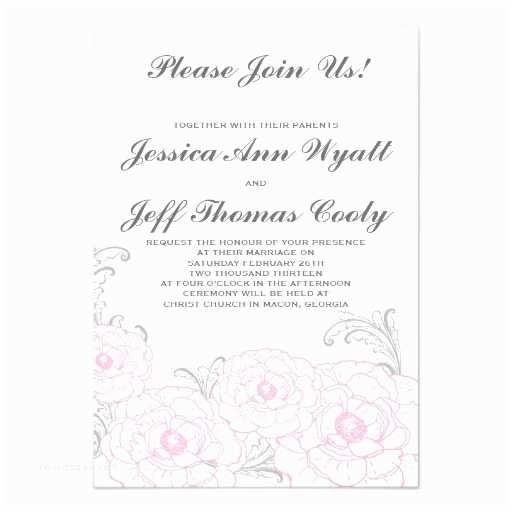 "Pink Peony Wedding Invitations Pink And Grey Peony Flower Wedding Invitations 3 "" X"