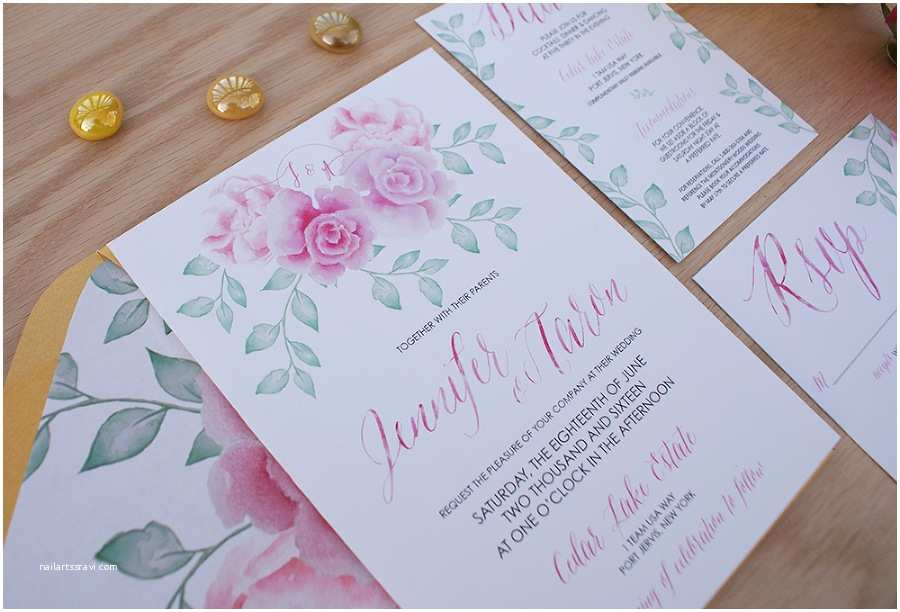 Pink Peony Wedding Invitations Pink Peony Watercolor Wedding Invitation Bohemian Mint