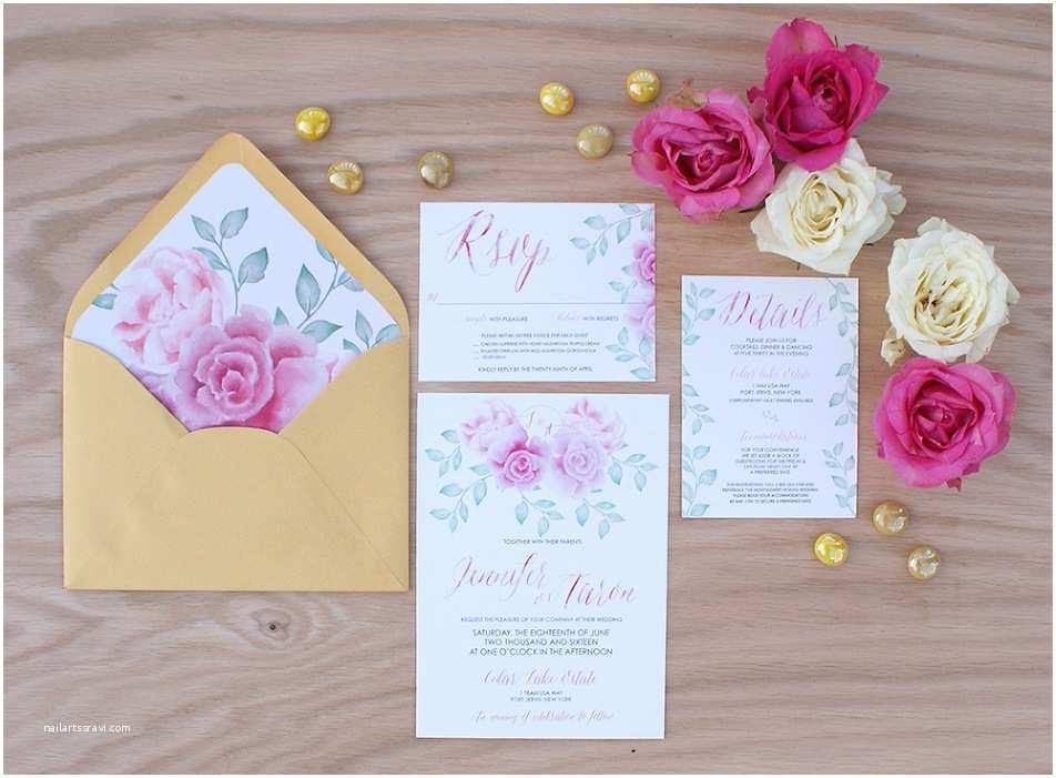 Pink Peony Wedding Invitations Pink Peony Watercolor Wedding Invitation Bohemian Mint