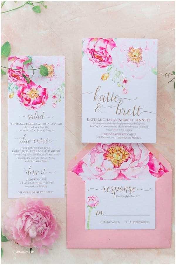 Pink Peony Wedding Invitations Pink Peony Wedding Inspiration From The