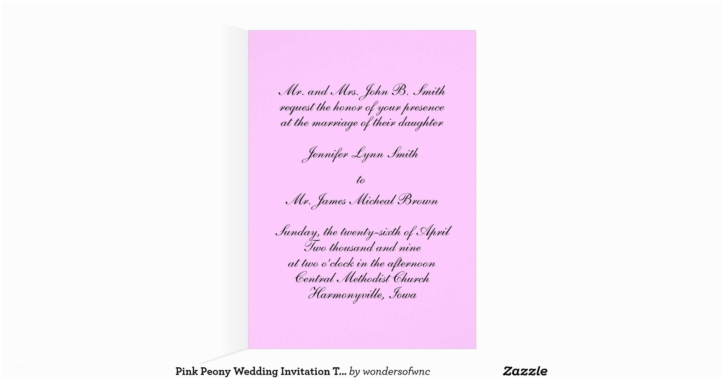 Pink Peony Wedding Invitations Pink Peony Wedding Invitation Template Note Card