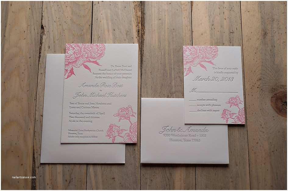 Pink Peony Wedding Invitations Real Wedding Amanda and John