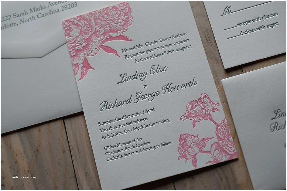 Pink Peony Wedding Invitations Real Wedding Lindsay and Richard