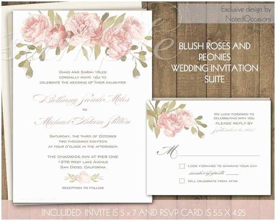 Pink Peony Wedding Invitations Rustic Wedding Invitations Peony Blush Pink By