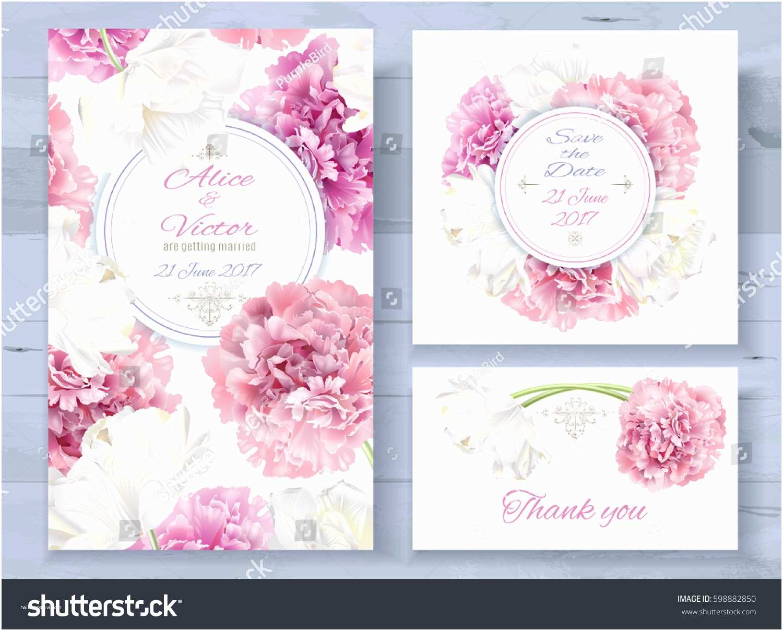 Pink Peony Wedding Invitations Vector Wedding Invitations Set Pink Peony Stock Vector