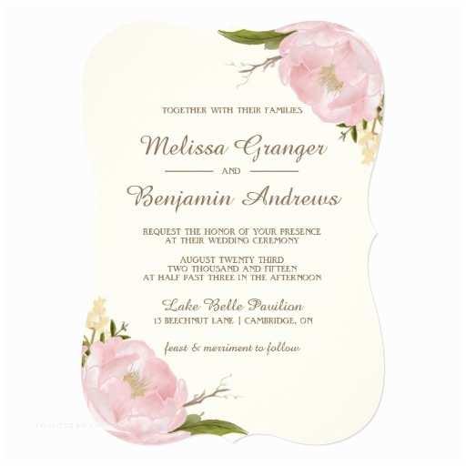 Pink Peony Wedding Invitations Vintage Pink Peonies Wedding Invitation