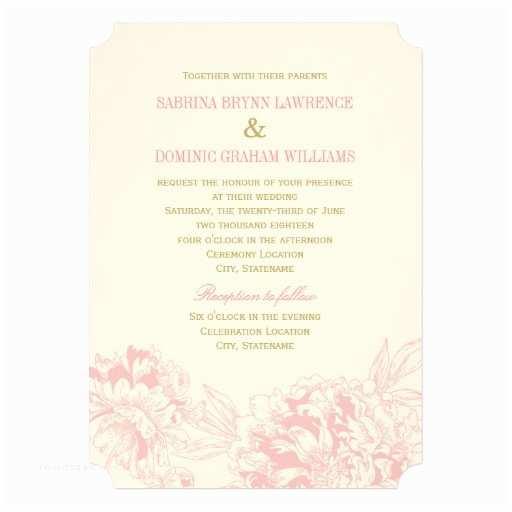 Pink Peony Wedding Invitations Wedding Invitation