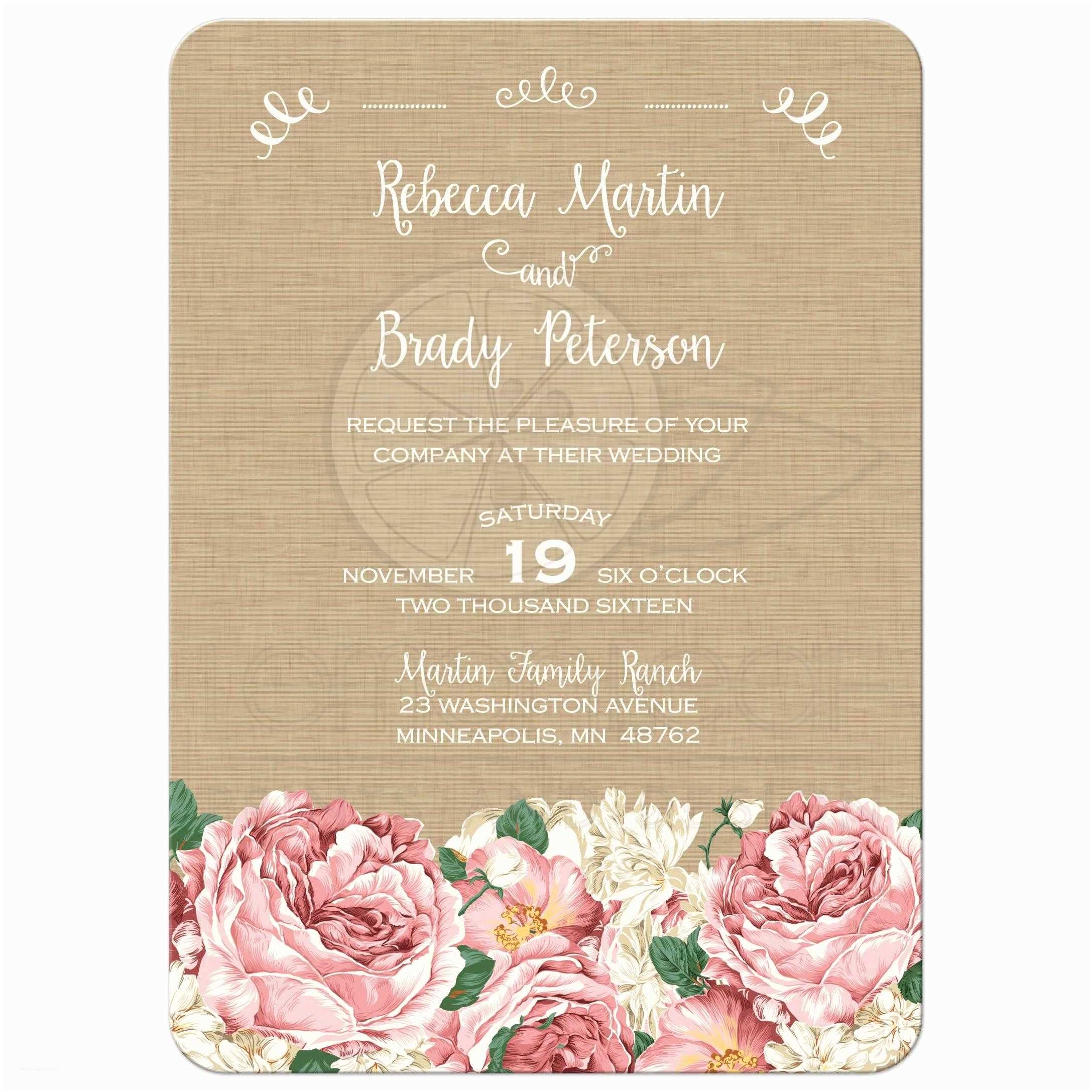Pink Peony Wedding Invitations Wedding Invitation Rustic Pink Peony Flowers On Canvas